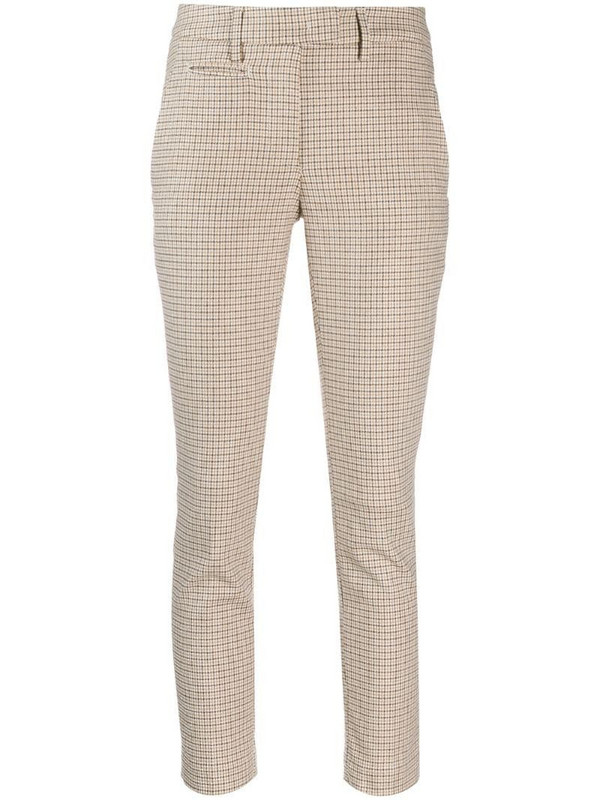 Dondup check print slim-fit trousers in neutrals