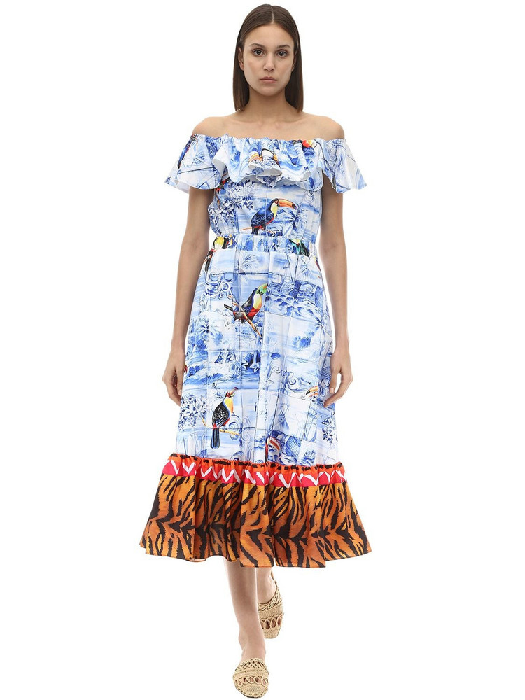 STELLA JEAN Printed Off-the-shoulder Cotton Dress in blue / multi