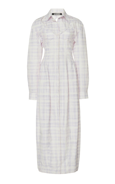 Jacquemus La Robe Valensole Checked Midi Shirt Dress Size: 38 in print
