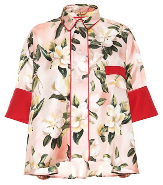 F.R.S For Restless Sleepers Pistis Plumeria silk pajama shirt in pink