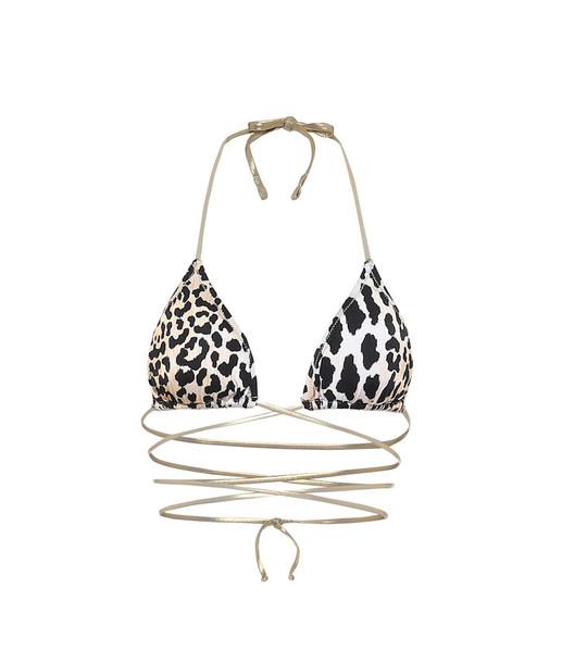 Reina Olga Hawn leopard-print bikini top in black