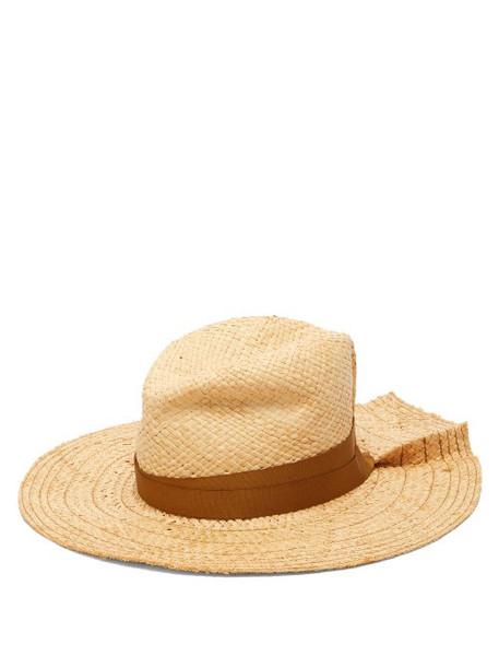 Lola Hats - First Aid Pleated Brim Raffia Hat - Womens - Beige