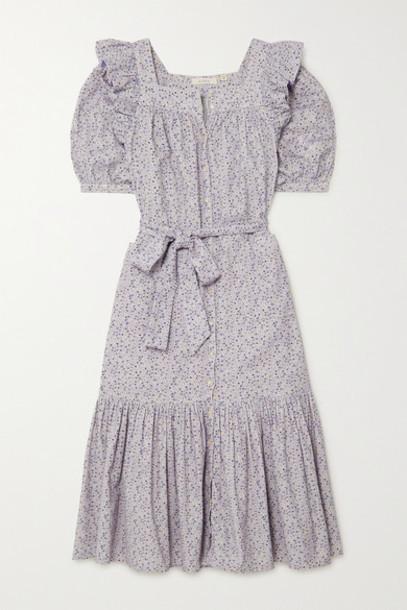 DÔEN - Malta Ruffled Floral-print Cotton-corduroy Midi Dress - Cream