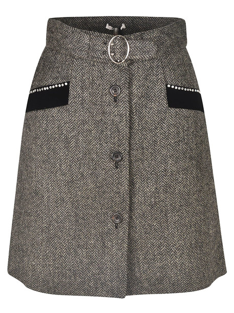 Miu Miu Checked Buttoned Detail Skirt in grey