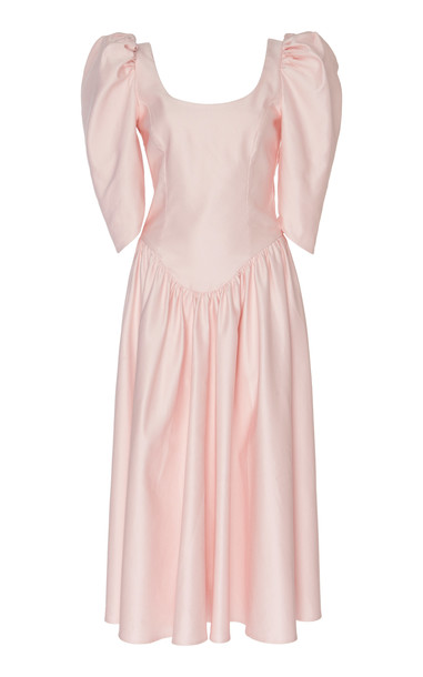 Alessandra Rich Bow-Accented Cotton-Blend Faille Dress Size: 36 in pink