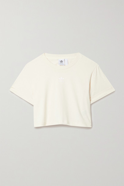 adidas Originals - Adicolor Cropped Embroidered Cotton-jersey T-shirt - Off-white