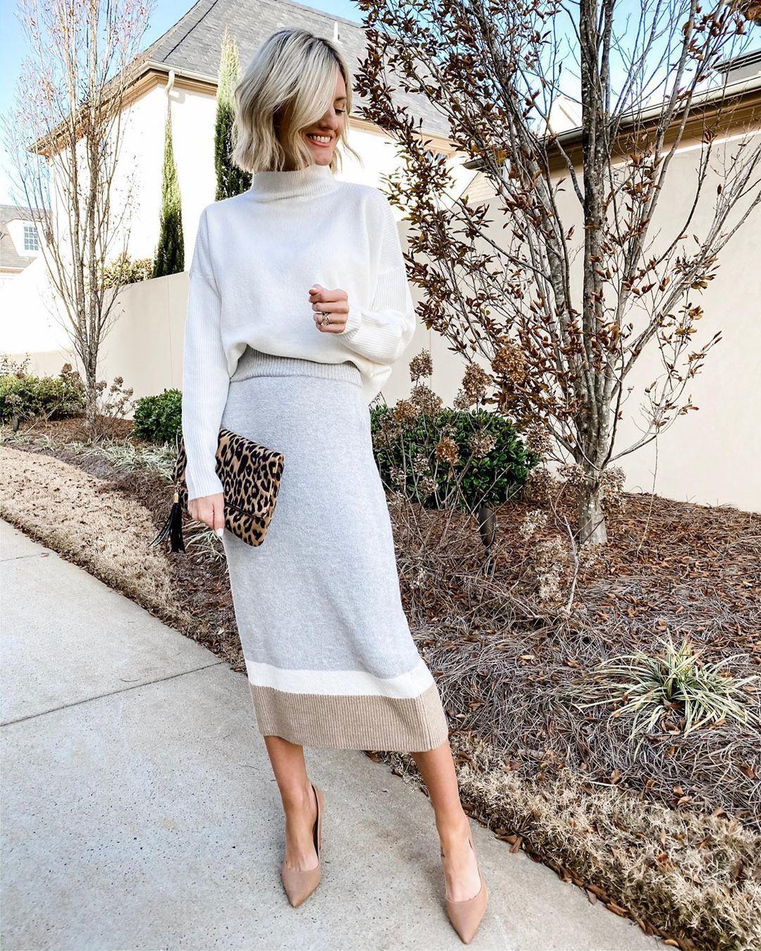 skirt midi skirt knitted skirt pumps turtleneck sweater bag leopard print