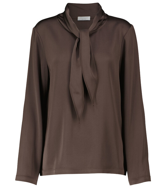 Deveaux New York Jean tie-neck satin shirt in brown