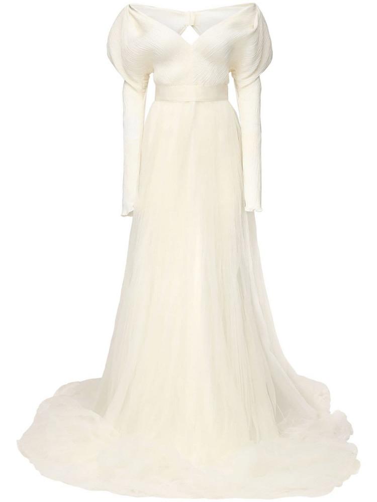 DANIELLE FRANKEL Pleated Georgette Dress in ivory