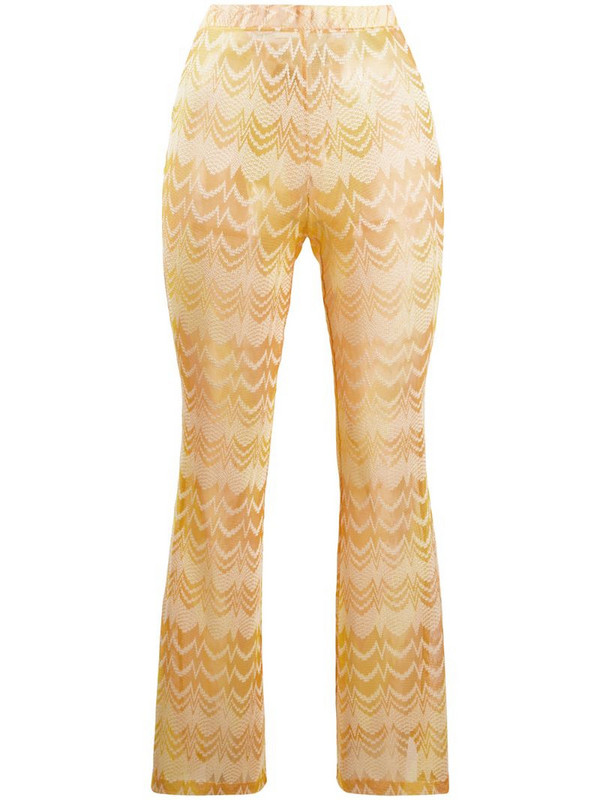 Missoni Mare slim-fit embroidered zigzag trousers in yellow