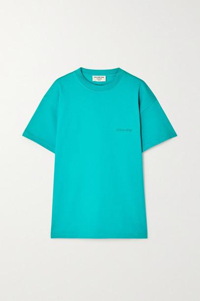 Balenciaga - Embroidered Cotton-jersey T-shirt - Blue