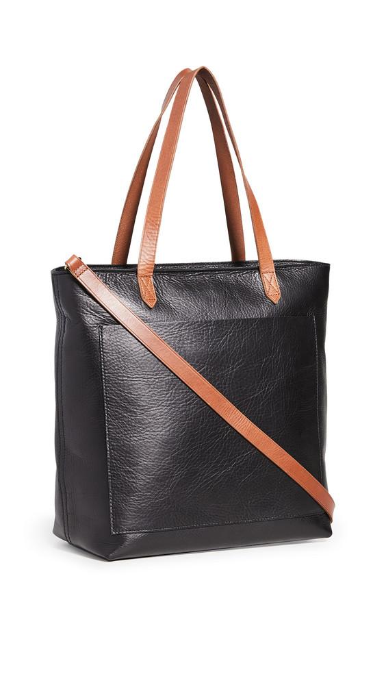 Madewell Medium Transport Tote Zipper in black / brown