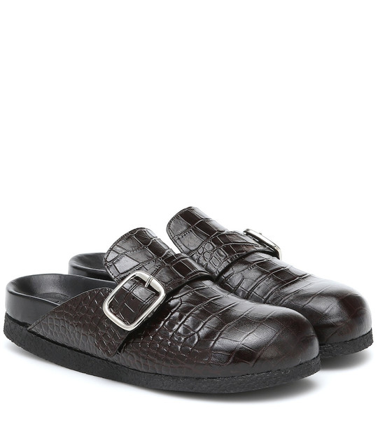Joseph Croc-effect leather slippers in brown