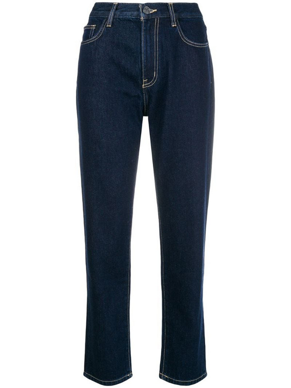 Current/Elliott cropped straight leg jeans in blue