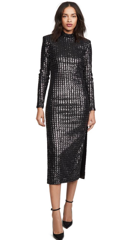 SMYTHE Sequin Side Slit Dress in silver