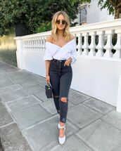 jeans,black jeans,ripped jeans,high waisted jeans,platform shoes,black bag,white blouse,wrap top