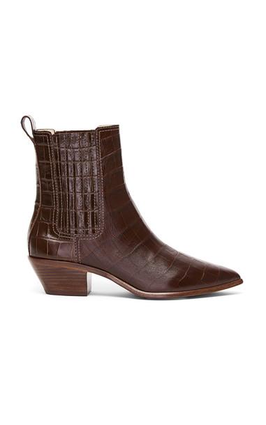 Loeffler Randall Aylin Leather Western Booties in brown
