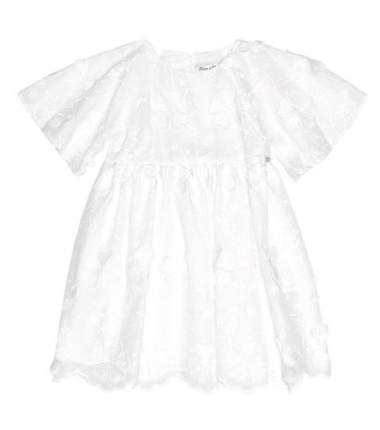 Tartine et Chocolat Embroidered cotton-blend dress in white