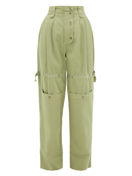 Etro - Margherita Cargo-pocket Cotton-canvas Trousers - Womens - Green Multi