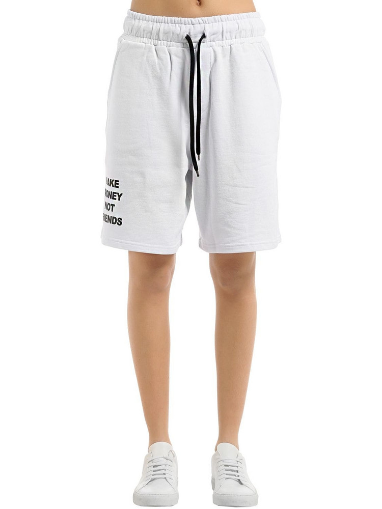 MAKE MONEY NOT FRIENDS Logo Cotton Sweat Shorts in white