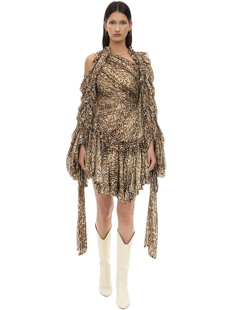 ZIMMERMANN Animal Print Crepe De Chine Mini Dress in leopard