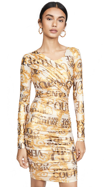 Versace Jeans Couture Versace Long Sleeve Dress in gold