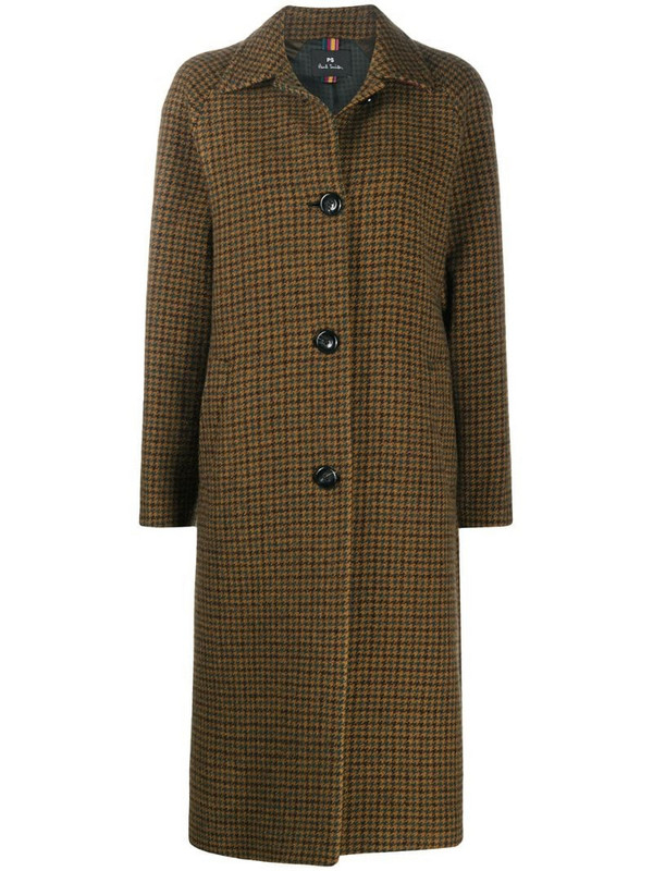 PS Paul Smith check single-breasted coat in brown
