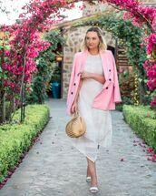 jacket,pink blazer,double breasted,zara,white dress,asymmetrical dress,white sandals,handbag