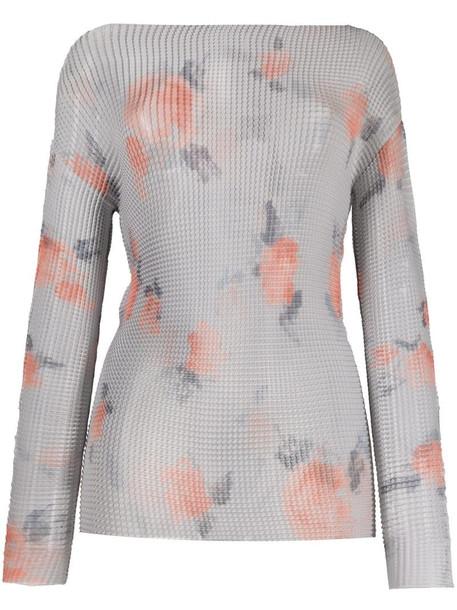 Emporio Armani sheer rose print top in grey