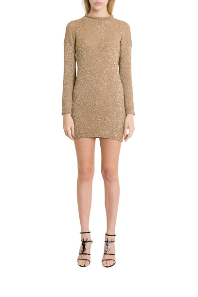 Saint Laurent Golden Lurex Knit Minidress With Sequins