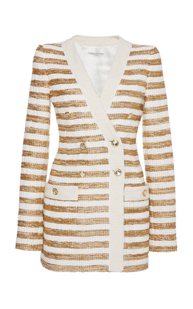 Alessandra Rich Striped Tweed Double-Breasted Jacket