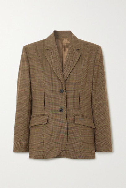 Wright Le Chapelain - Zip-detailed Checked Wool Blazer - Brown