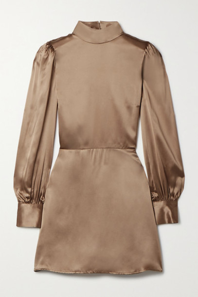 Reformation - Kim Open-back Silk-satin Mini Dress - Bronze