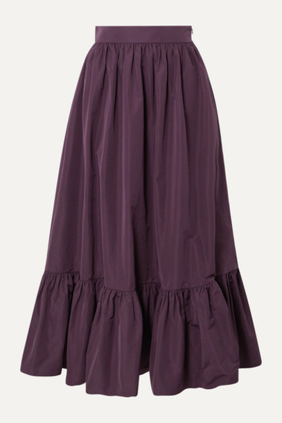 Valentino - Tiered Cotton-blend Poplin Midi Skirt - Purple