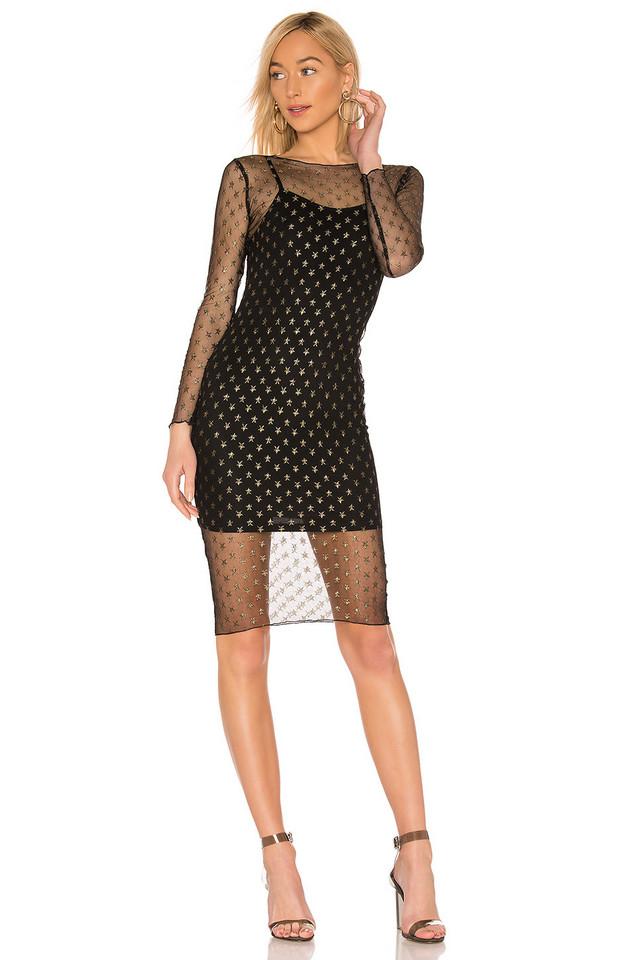 by the way. Jaymee Mesh Lurex Midi Dress in black