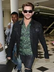 coat,trendhoop,american singer,adam lambert,outfit idea,leather jacket