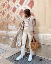 jeans,white jeans,white sneakers,trench coat,plaid shirt,bag