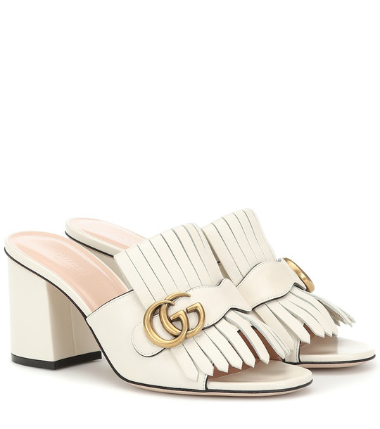 Gucci Leather mules in white