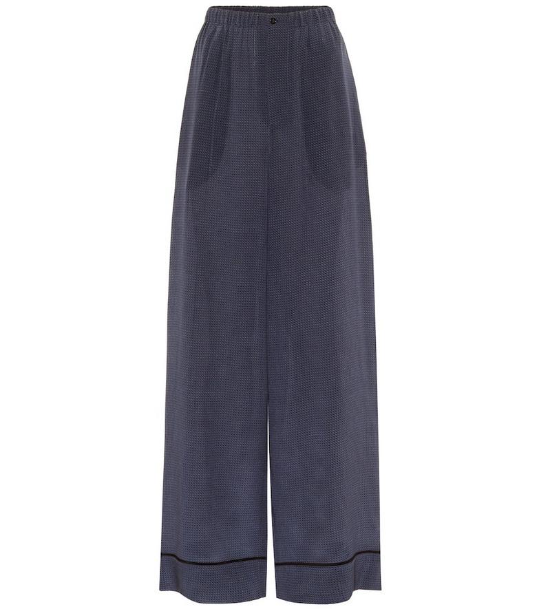 Fendi Polka-dot silk wide-leg pants in blue