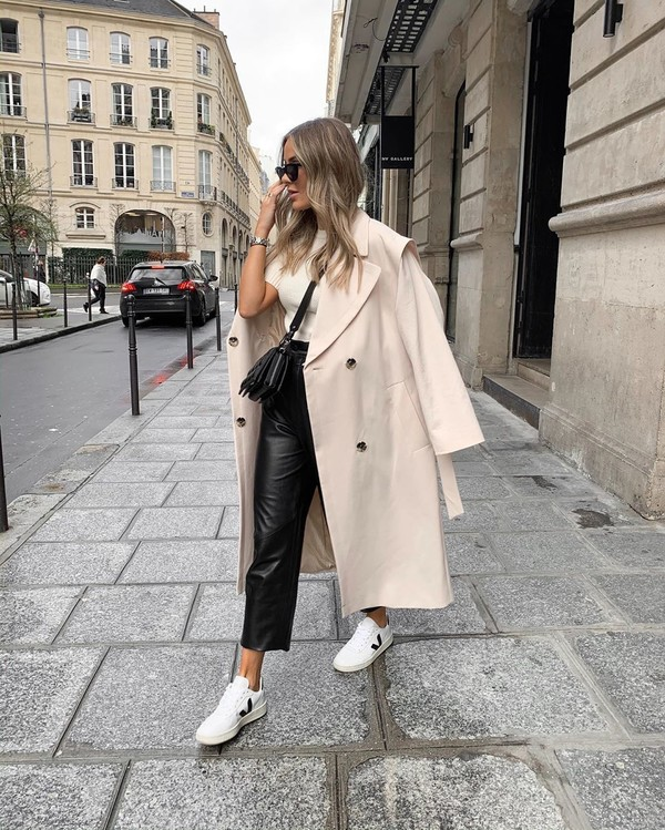 coat trench coat topshop double breasted white sneakers black leather pants white top black bag