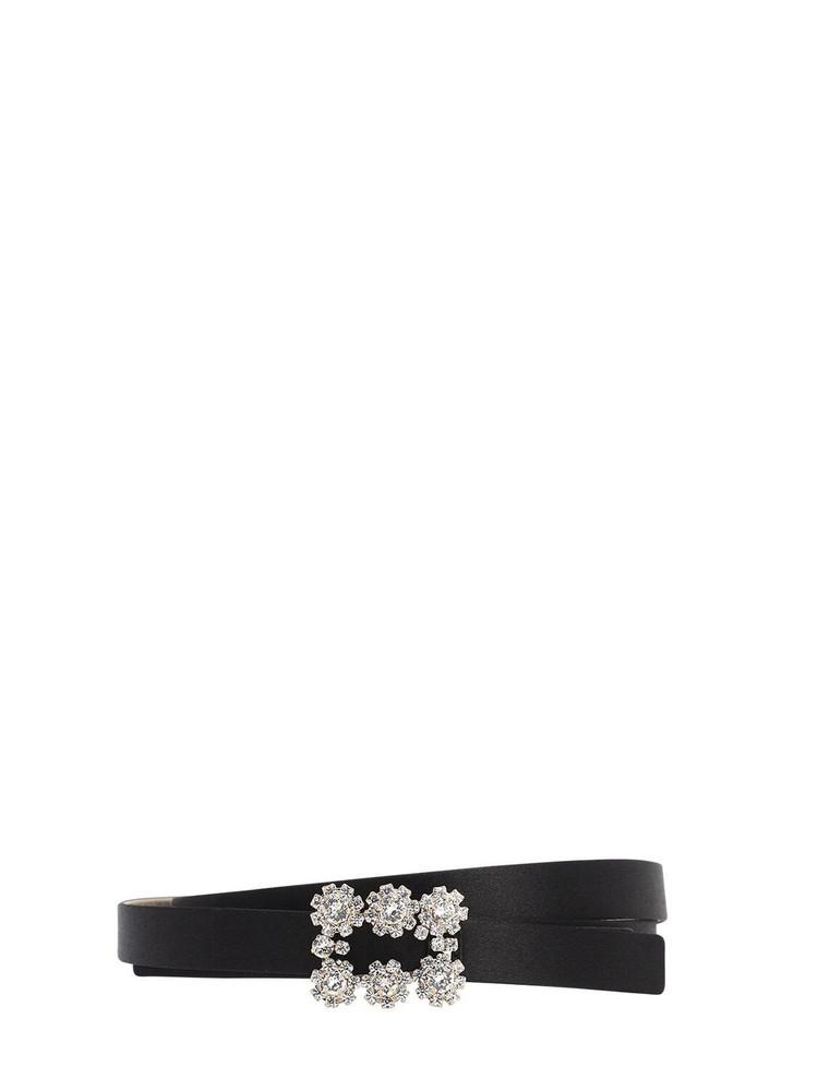 ROGER VIVIER 15mm Flower Satin Belt in black