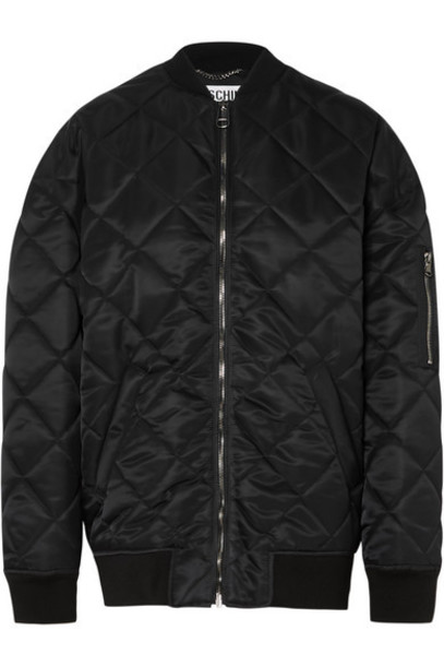 Moschino - Oversized Embellished Quilted Shell Bomber Jacket - Black