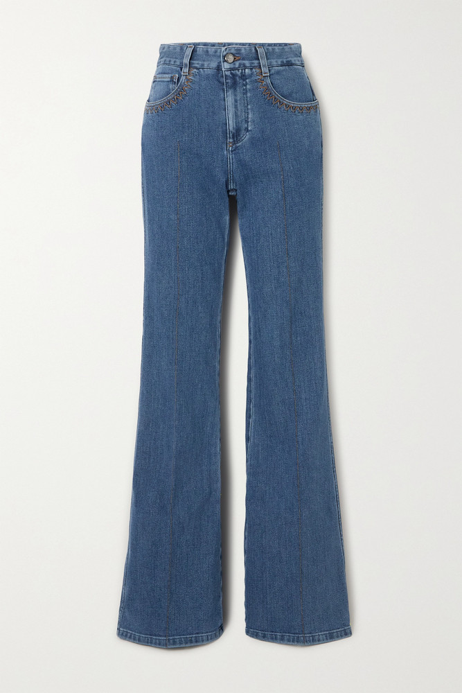 CHLOÉ CHLOÉ - Printed High-rise Flared Jeans - Blue
