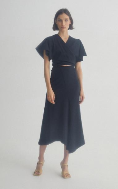 Acler Roscoe High-Waisted Midi Skirt in black