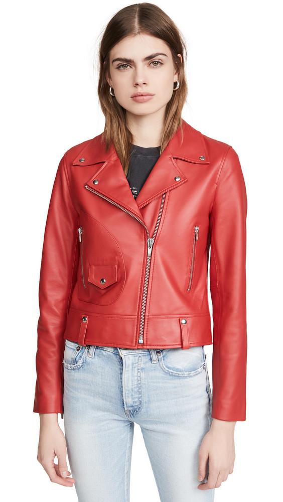 VEDA Mercury Leather Moto Jacket in tomato