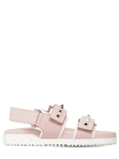 VALENTINO 20mm Rockstud Rubber Leather Sandals in pink