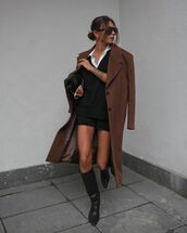 sweater,vest,knee high boots,black boots,black shorts,coat,shirt,black bag