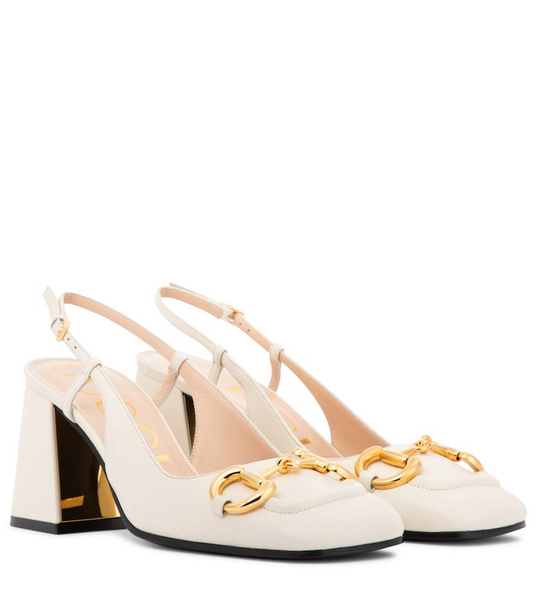 Gucci Horsebit leather slingback pumps in white