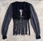 top,tiger of london,black,fringes,sheer,long sleeves,vneck top,goth,velvet
