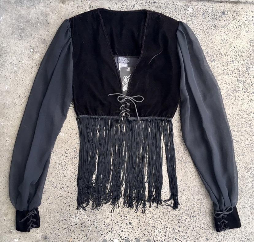 top tiger of london black fringes sheer long sleeves vneck top goth velvet